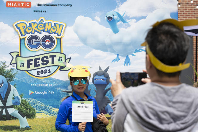 This player, wearing a Pikachu headgear, was participating in the Pokémon Go Fest on July 17, 2021 in Chicago.