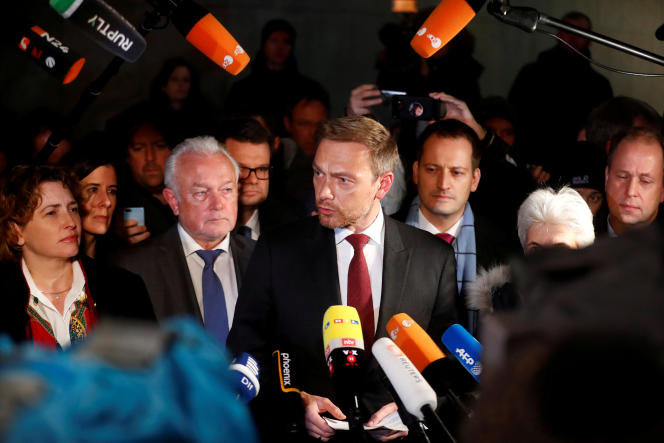 Christian Lindner, head of the Liberal Democratic Party (FDP), ends negotiations with CDU-CSU and the Greens to form a coalition government, on November 19, 2017, in Berlin.
