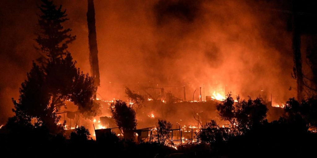 On the Greek island of Samos, a migrant camp has been evacuated after a fire broke out