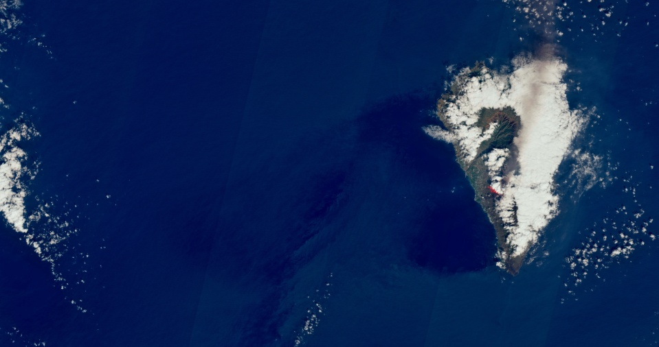The amount of ash emitted from the volcano can be seen from space
