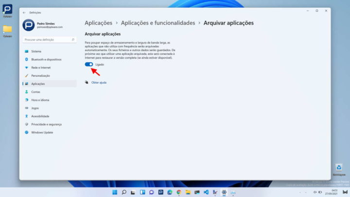Store archived apps in Windows 11 . space