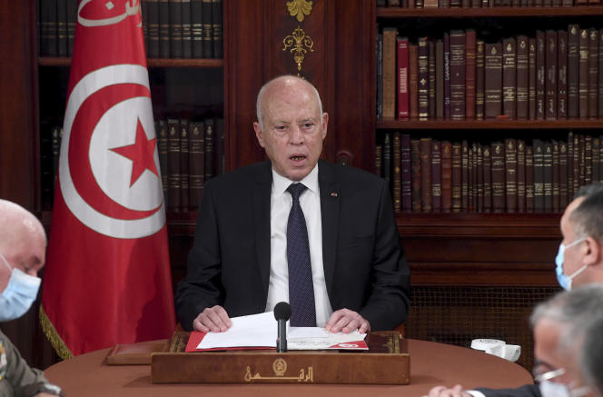 Tunisian President Kais Saied chairs a security meeting with members of the army and police in Tunis on July 25, 2021.