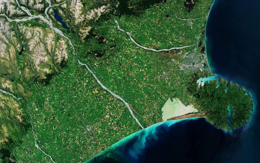 New Zealand, Banks Peninsula, satellite imagery