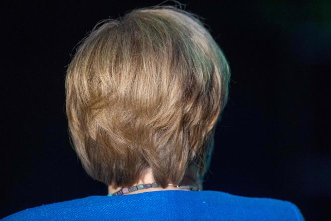 Angela Merkel at the 50th anniversary of the creation of the NGO Greenpeace, in Stralsund (Mecklenburg-Vorpommern), August 30.