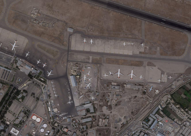 Satellite image of Kabul Airport, Monday, August 16, 2021.